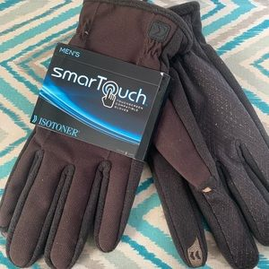 Isotoner touchscreen men's gloves brown xl